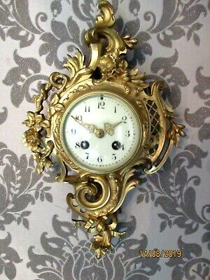 "Japy Freres, Gilt / Brass 8 Day "" Cartel "" Wall Clock.circa 1870s."