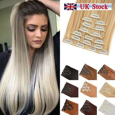 8pcs Full Head Clip in 100% Natural Hair Extension as Human Long Thick Straight