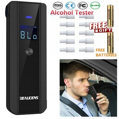 Professional Police Breath Alcohol Tester w/LCD Digital Breathalyser <5 seconds