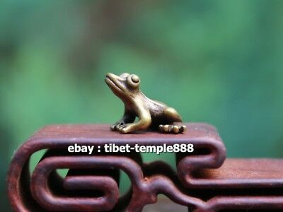 2.5 CM 100% Pure Bronze Copper China Fengshui Animal Common Pond Frog Statuette