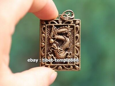 5 CM China Pure Bronze Counteract Evil Force Zodiac Animal Dragon Amulet Pendant