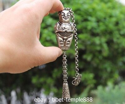 7CM Chinese Miao Silver Handwork Luck Little Boy Tongzi Amulet Pendant Necklace