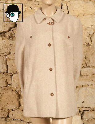 VINTAGE 60s SHORT TRAPEZE SHAPED MOD COAT - UK 14 - (Z)