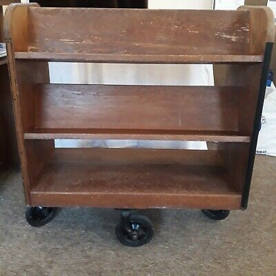 Antique - vintage early 20 Century  Library School Book Trolley Shelves Wheels