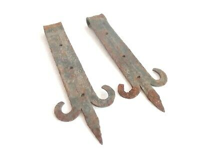 """Pair of Antique Wrought Iron Large Gate Hinges 8.66"""" & 8.19"""" . Blacksmith Made"""
