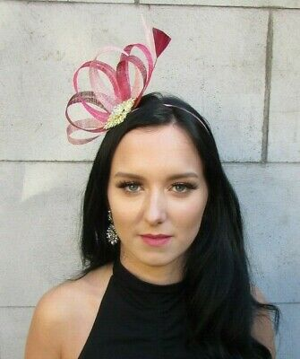 Burgundy Wine Red Nude Cerise Hot Pink Gold Sinamay Feather Hair Fascinator 7682