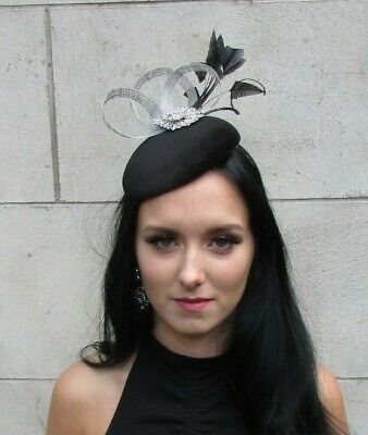 Silver Black Velvet Feather Pillbox Hat Fascinator Wedding Races Formal 7683