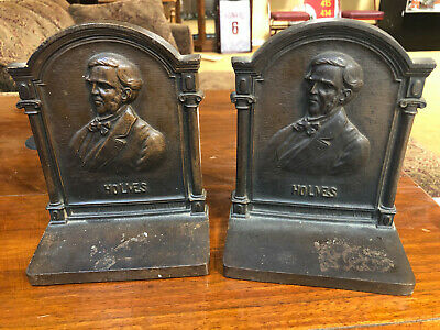 Antique 1920's B&H Cast Iron Bookends Holmes Poet Bradley & Hubbard - 7 lbs.
