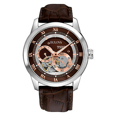 Bulova Men's Automatic Skeleton Exhibition Caseback Brown 42mm Watch 96A120