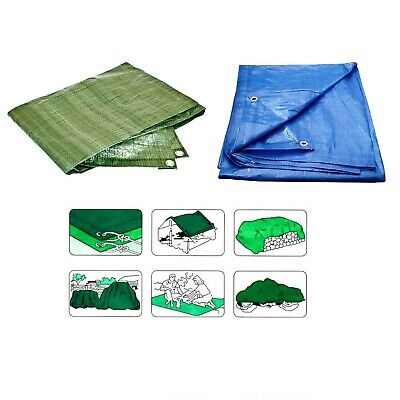 Waterproof Tarpaulin Strong Ground Sheet Cover Tarp - Choice of Sizes Green Blue