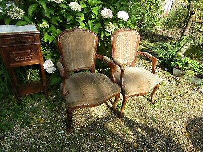 Quality Pr Antique Late 19Th C. Carved Mahogany French Arm Chairs Restoration