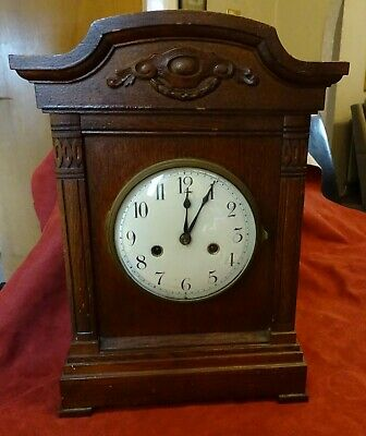 Large Antique Oak Wood Mantle Clock