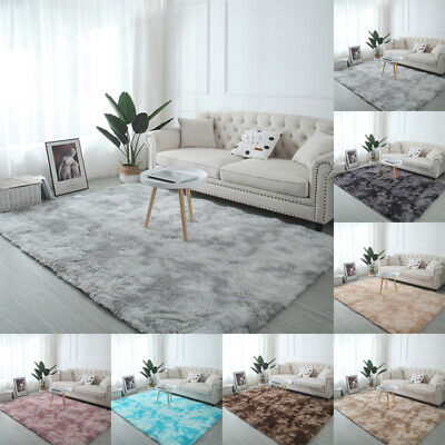 Fluffy Rugs Anti-Skid Shaggy Area Rug Dining Room Carpet Floor Mat Home BedrooFB