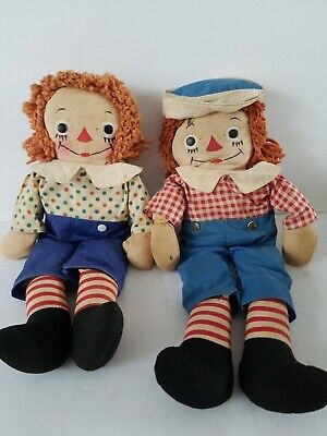 "Old Unbranded Raggedy Ann & Andy Dolls 15"" Tall No Odors Loved Condition"