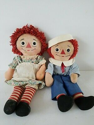 "Old Unbranded Raggedy Ann & Andy Dolls 16"" & 15"" Tall No Odors Loved Condition"