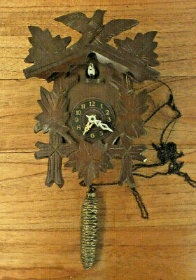 Antique  German Cuckoo Clock For Parts / Repair Wooden Carved. Pinecone chain