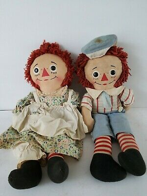 "Old Unbranded Raggedy Ann & Andy Dolls 15"" -16"" T No Odors Loved Condition"