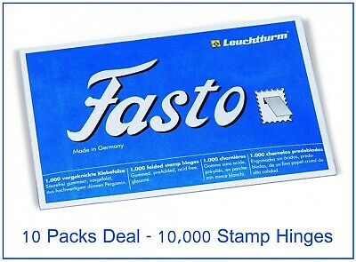 Lighthouse Fasto Gummed Stamp Hinges 10 Packs - 1000 High Quality Pre Folded