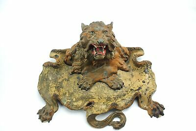 Antique Victorian Lion Head Painted Metal Ink Well Inkwell Stand