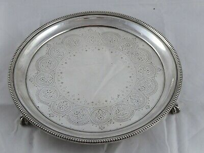 STUNNING ANTIQUE VICTORIAN SOLID STERLING SILVER SALVER WAITER TRAY 1876 492 g