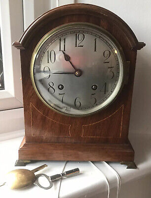 Superb Antique Mahogany Striking Bracket Clock - Working Condition