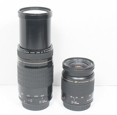 Canon EF 28-80mm & 75-300mm TWO USM lens SET for EOS T7i T6i 80D 7D 6D 5D III II