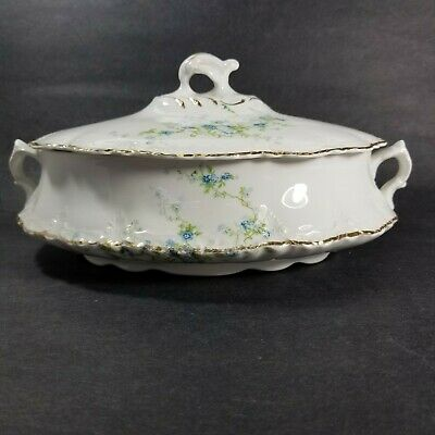 Antique Homer Laughlin Hudson Covered Dish  Delicate Blue Floral 1912 Newell 8""