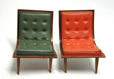 Pr.mid Century Modern Bent Wood  Scoop Chairs By Carter Brothers Model #200