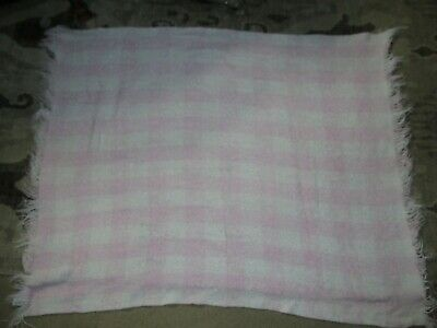 BC Vintage Churchill Weavers Handwoven Pink Baby Blanket white checkered