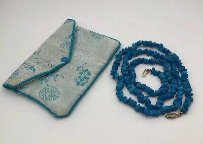 Beautiful Chinese Antique/Vintage Blue Turquoise Bead Necklace With Purse