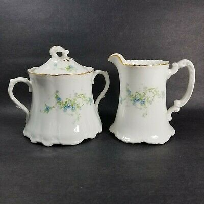 Antique Homer Laughlin Hudson Cream and Sugar Delicate Blue Floral 1912 Newell