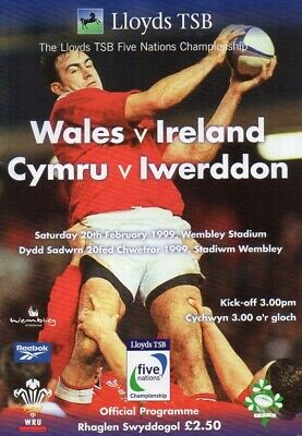 1999 Wales V Ireland * At Wembley * Five Nations Rugby Union Programme Exc Cond