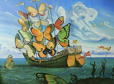 274810 Salvador Dali Butterfly Boat Beautiful Painting POSTER PRINT DECOR AU
