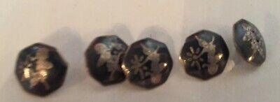 Vintage Siam Sterling Silver Set of 5 Buttons with Black Enameling 1/2""