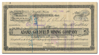 Adams Goldfield Mining Company Stock Certificate Signed by R. L. Johns