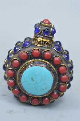 Collectable Handwork Old Copper Inlay Agate Turquoise Colour Lucky Snuff Bottle