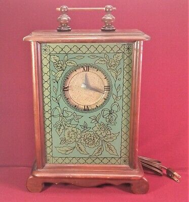 Vintage Lanshire Self Starting Clock w/Reverse Painted front Electric Repair