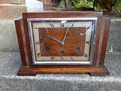 Large Impressive  8 Day, Art Deco, Westminster Chime Mantel Clock Working Order