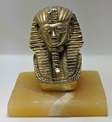 Egyptian King Tut Brass Pharaoh Bust Figurine On Marble Base Egypt Sculpture