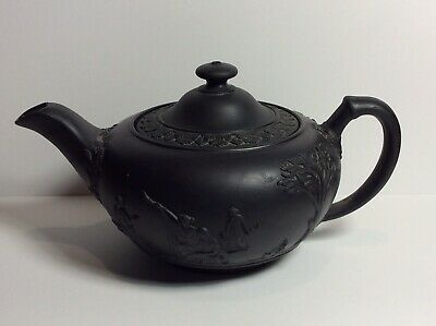 Antique 19th Century Wedgwood Black Basalt Teapot SEE PICS signed