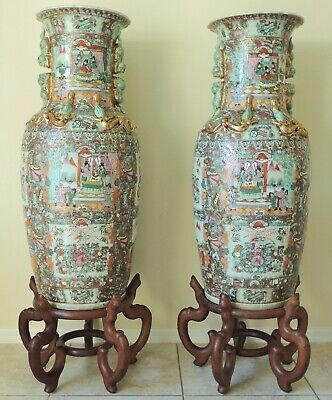 """Large Pair Antique 56"""" Chinese Qing Rose Medallion Porcelain Palace Vases Stands"""