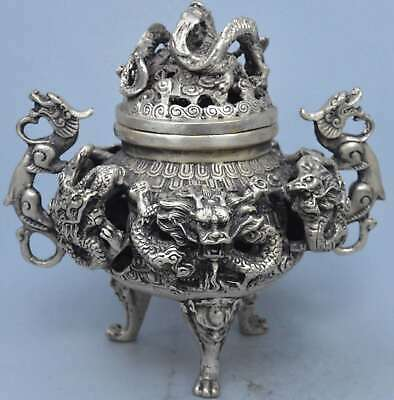 Chinese Collectable Handwork Miao SIlver Carve Exorcism Dragon Incense Burner
