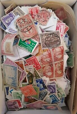 Box of Mixed World Stamps. 380g On/Off paper