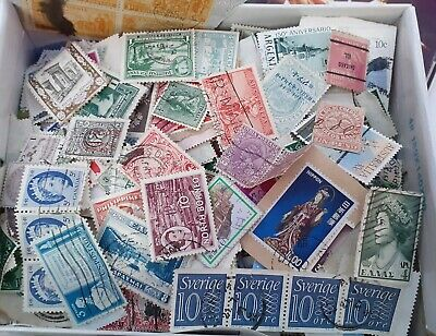 Box of mixed World stamps. 350g On/Off Paper