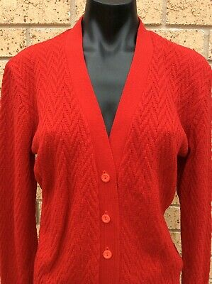 Vintage 60's Cardigan Bright Red Size 14 Cardi Jumper Jacket Knitted Top Retro