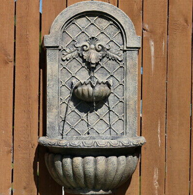 Venetian Solar Outdoor Wall Water Fountain in French Limestone