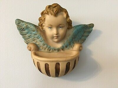 "Vint.1980s: Italian ""ANGEL HOLY WATER FONT""-  Hand Painted, 6-1/2"" wide- PERFECT"