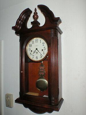 Howard Miller 613-653 Wall Clock Cherry 8 Day Key Wound Hermle Westminster Chime