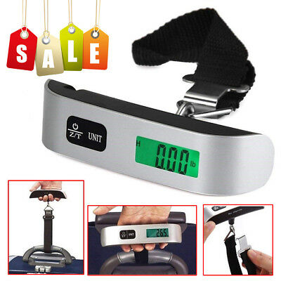 US 50kg/10g Portable Balance LCD Electronic Digital Hanging Luggage Scale Weight