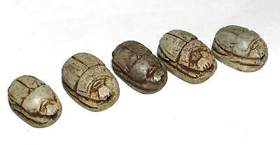 5pc Vintage Egyptian Artifact Figural Mummy King Stone Scarab Beads